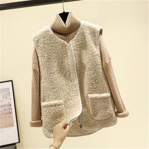 Lamb Hair Vest Women's Autumn Winter 2020 Korean Style Sleeveless All-Match Female Coats Simple Leisure Outwear Chic