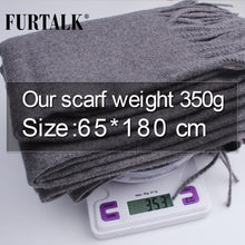 Load image into Gallery viewer, FURTALK Wool Cashmere Scarf for Women Men Winter Cashmere Poncho Scarves Luxury Brand Shawl Pashmina Head Scarf foulard femme