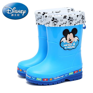 Disney children's rain boots boys and girls water shoes baby water boots kids non-slip plus velvet warm rain boots EU size 26-35
