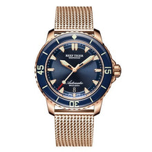 Load image into Gallery viewer, Reef Tiger Aurora Serier RGA3035 Men 200M Waterproof With Super Luminous Calendar Automatic Mechanical Wrist Watches - Steel