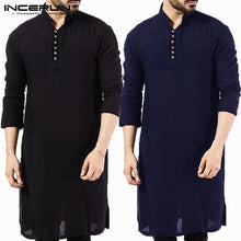 Load image into Gallery viewer, Stylish Male  Men Shirt Long Sleeve Mandarin  Dress Islamic Chemise Robe Muslim Indian Clothes Hombre Camisas Nepal