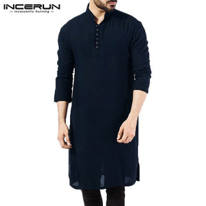 Stylish Male  Men Shirt Long Sleeve Mandarin  Dress Islamic Chemise Robe Muslim Indian Clothes Hombre Camisas Nepal