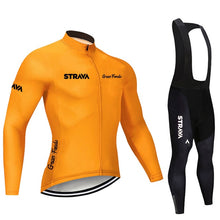 Load image into Gallery viewer, 2020 STRAVA Pro Team Long Sleeve Cycling Jersey Set Bib Pants Ropa Ciclismo Bicycle Clothing MTB Bike Jersey Uniform Men Clothes