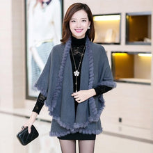 Load image into Gallery viewer, New Fashion Spring  Rabbit Fur Collar Cashmere Cardigan Shawl Women Khaki Knitted Fur & Faux Fur Poncho Coat Outerwear