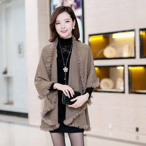 New Fashion Spring  Rabbit Fur Collar Cashmere Cardigan Shawl Women Khaki Knitted Fur & Faux Fur Poncho Coat Outerwear