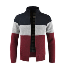 Load image into Gallery viewer, Dropshipping NEGIZBER 2019 Winter Sweater Men Patchwork Slim Fit Stand Collar Thick Fleece Cardigan Men Fashion Warm Men Sweater