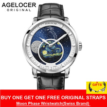 Load image into Gallery viewer, AGELOCER New Moon Phase Design Swiss Watch Mens Watches Top Brand Luxury Black leather Clock Men Automatic Watch 6401A1