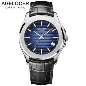 AGELOCER Switzerland Men Watch Top Brand Luxury Male Leather Waterproof Sport Automatic Mechanical Wrist Watch Men Clock relogio