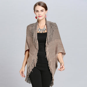New Fashion Spring  Women Poncho Femme Hiver Khaki Cardigan Shawl High Elastic Tassel Knitted Ladies Sweaters Long Cardigan Coat