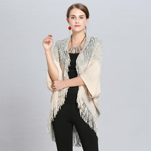 Load image into Gallery viewer, New Fashion Spring  Women Poncho Femme Hiver Khaki Cardigan Shawl High Elastic Tassel Knitted Ladies Sweaters Long Cardigan Coat