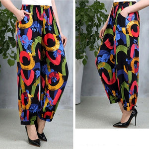 5XL Plus Size Harem Pants Vintage Floral Printed Wide Leg Pants Summer Women Casual Linen Long Elegant Trousers Pantalon Femme