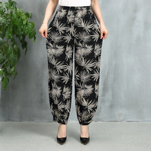 Load image into Gallery viewer, 5XL Plus Size Harem Pants Vintage Floral Printed Wide Leg Pants Summer Women Casual Linen Long Elegant Trousers Pantalon Femme