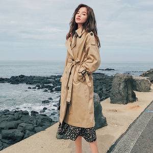 Fashion Brand New Women Trench Coat Long Double-Breasted Belt Blue Khaki Lady Clothes Autumn Spring Outerwear Oversize Quality