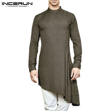 Load image into Gallery viewer, Men Shirt Indian Clothing Solid Color Long Sleeve Cotton Casual Tops Men Islamic Muslim Arab Kaftan Men Long Shirt 3XL INCERUN