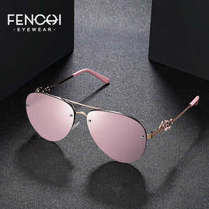 FENCHI Sunglasses Women Retro Brand Design Glasses Driving trendy Classic Vintage Sunglasses pink mirror lunette soleil femme