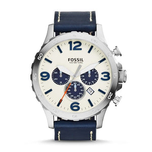 Fossil Men's Nate Stainless Steel Chronograph Watch with Navy Leather Band mens watches top brand luxury JR1480