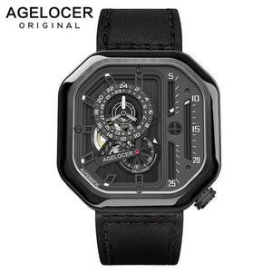Swiss Brand AGELOCER Sport Watches for Men Skeleton Dial with Luminous Hands Unique Mechanical Watches Power Reserve 42 Hours