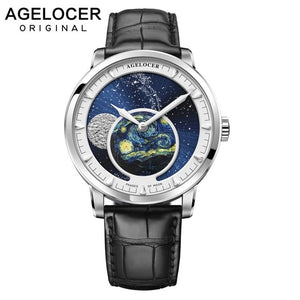 AGELOCER New Moon Phase Design Swiss Watch Mens Watches Top Brand Luxury Black leather Clock Men Automatic Watch 6401A1