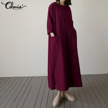 Load image into Gallery viewer, Vintage Linen Shirt Women Long Sleeve Dress 2020 Celmia Autumn Casual Loose Pockets Female Vestidos Solid Pleated Robe Plus Size