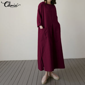 Vintage Linen Shirt Women Long Sleeve Dress 2020 Celmia Autumn Casual Loose Pockets Female Vestidos Solid Pleated Robe Plus Size
