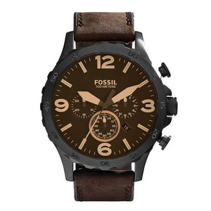 Men's Nate Quartz Stainless Steel with Brown Leather Strap Brand Luxury Casual Watch for Men JR1487