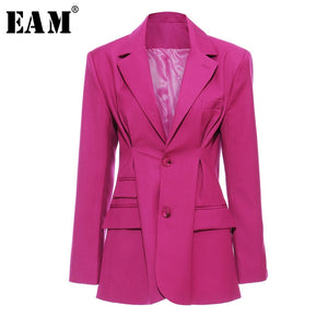 [EAM]  Women Rose Red Pleated Split Temperament Blazer New Lapel Long Sleeve Loose Fit  Jacket Fashion Spring Autumn 2020 1S5570