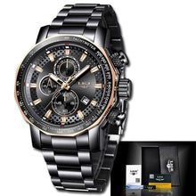 Load image into Gallery viewer, 2020 LIGE Fashion Mens Watches Stainless Steel Top Brand Luxury Sport Chronograph Quartz Watch Men Black Watch Relogio Masculino