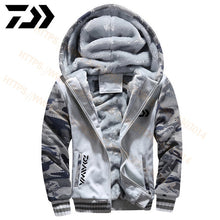 Load image into Gallery viewer, 2020 Daiwa Fishing Clothes Hoodies Outdoor Sweatshirt With Cap Loose Fleece Warm Jacket Men Fishing Clothing With Hood