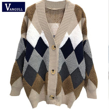Load image into Gallery viewer, VANGULL Women Sweaters Autumn Winter 2019 fashionable Casual Plaid V-Neck Cardigans Single Breasted Puff Sleeve Loose Sweater