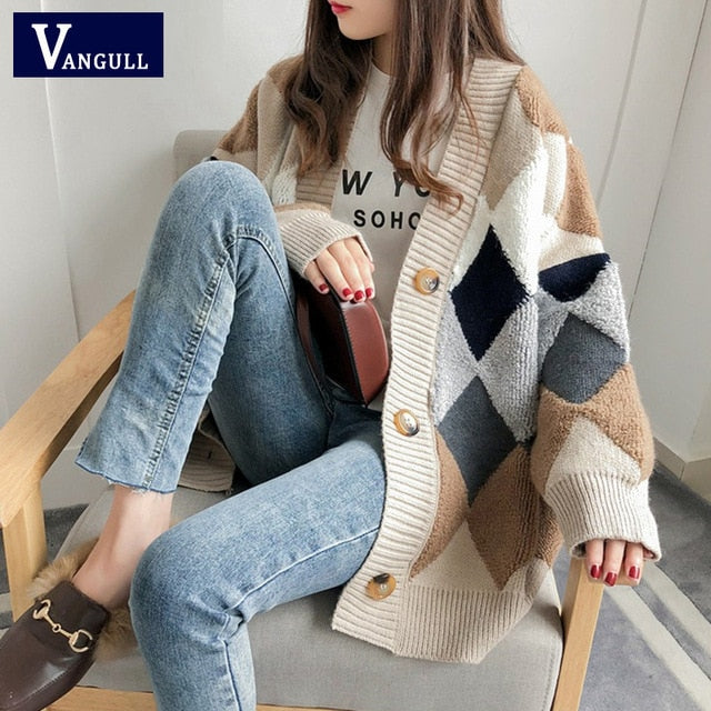 VANGULL Women Sweaters Autumn Winter 2019 fashionable Casual Plaid V-Neck Cardigans Single Breasted Puff Sleeve Loose Sweater