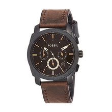 Load image into Gallery viewer, Fossil Watch Men Machine Mid-Size Chronograph Watch with Brown Leather Sport Watch Analog Brown Dial Men's Watch FS4656