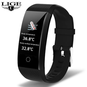 LIGE New Smart Watch Men Body Temperature Heart Rate Blood Pressure Monitor IP68 Waterproof Sport Smartwatch For IOS Android+Box