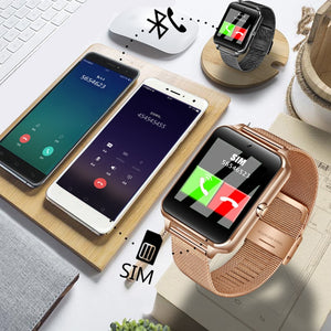Fashion Smart Watch Metal Digital watches With Sim Card Slot Push Message Bluetooth Connectivity Android IOS Phone Smartwatch