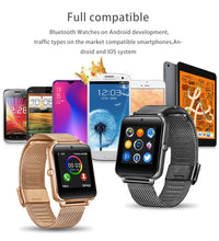 Load image into Gallery viewer, Fashion Smart Watch Metal Digital watches With Sim Card Slot Push Message Bluetooth Connectivity Android IOS Phone Smartwatch