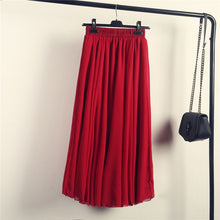 Load image into Gallery viewer, 2020 Bohemia Long Skirts Women Stretch High Waist Solid Chiffon A-Line Skirt Casual Pleated Maxi Skirt Faldas Saias Streetwear