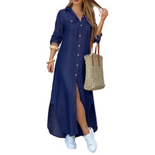 Load image into Gallery viewer, ZANZEA Women Long Maxi Dress Casual Solid Buttons Down Long Shirts Vestidos Cotton Linen Sundress Lapel Neck Party Beach Dresses