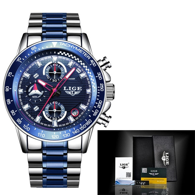 New Watch Men 2020 LIGE Fashion Mens Watches Top Brand Luxury Business Waterproof Clock Male Full Steel Sport Quartz Chronograph