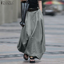 Load image into Gallery viewer, 2020 Vintage Summer Skirts ZANZEA Women High Waist Solid Cotton Linen Skirt Saia Female Beach Maxi Long Skirts Jupe Faldas 5XL 7