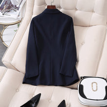 Load image into Gallery viewer, 2020 Women Double Breasted Long Blazers Office Lady Small Suit Jacket Ladies Leisure Blazer Loose Coat Streetwear Plus Size 5XL
