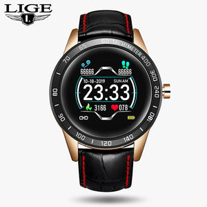 LIGE Steel Band Smart Watch Men Heart Rate Blood Pressure Monitor Sport Multifunction Mode Fitness Tracker Waterproof Smartwatch
