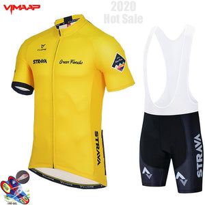 2020 New STRAVA Summer Cycling Jersey Set Breathable Team Racing Sport Bicycle Jersey Mens Cycling Clothing Short Bike Jersey NW