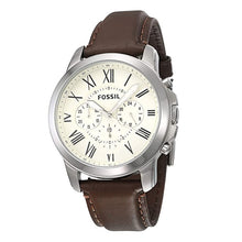Load image into Gallery viewer, Fossil Grant Chronograph Mens Watch White Dial Quartz Stainless Steel Watch Brown Leather Watch FS4735