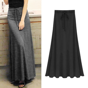Womens Elastic Waist Plus Size A-line Skirts Hip Slim Long Loose Sheds Split Skirts Large Size Knitted Skirts OLV1080