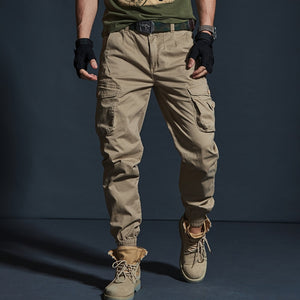 High Quality Khaki Casual Pants Men Military Tactical Joggers Camouflage Cargo Pants Multi-Pocket Fashions Black Army Trousers Sportswear