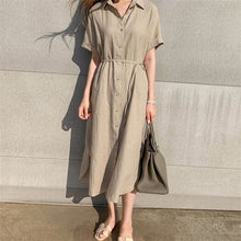 Load image into Gallery viewer, Colorfaith New 2020 Women Summer Shirt Dress Casual 3 Colors Loose Fashionable Split Lace Up Cotton and Linen Long Dress DR1670