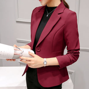 Elegant Business Lady Jacket New 2020 Women Full Sleeve Work Blazer Female Casual Coat Six Color Available