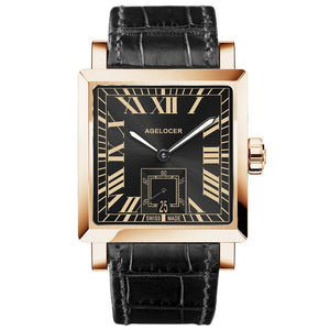 Agelocer Luxury Automatic Watches for Men Genuine Leather Strap Rose Gold Square Watches with Date 3303D1