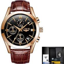 Load image into Gallery viewer, 2020 LIGE New Fashion Mens Watches Top Brand Luxury Military Quartz Watch Premium Leather Waterproof Sport Chronograph Watch Men