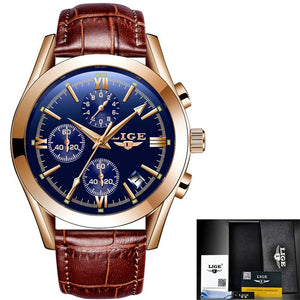 2020 LIGE New Fashion Mens Watches Top Brand Luxury Military Quartz Watch Premium Leather Waterproof Sport Chronograph Watch Men