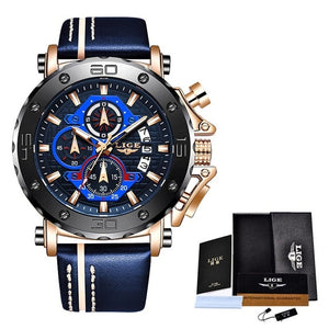 2020 Top Brand LIGE Men Watches Fashion Sport Leather Watch Mens Luxury Date Waterproof Quartz Chronograph Relogio Masculino+Box